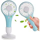 Unikaw Mini USB Fan, Battery Operated Rechargeable Electric Portable Pocket Personal Fans USB Handheld Fans for Outdoor Travel & Indoor Office Desk (Blue)