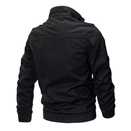 Review CRYSULLY Mens Autumn Casual Warm Stylish Urban Classic Cargo Coats Sportswear Bomber Jackets Black, Large