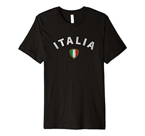Mens Italia, Italian vintage style t-shirt - national flag crest 2XL Black (Italian Style Vintage)