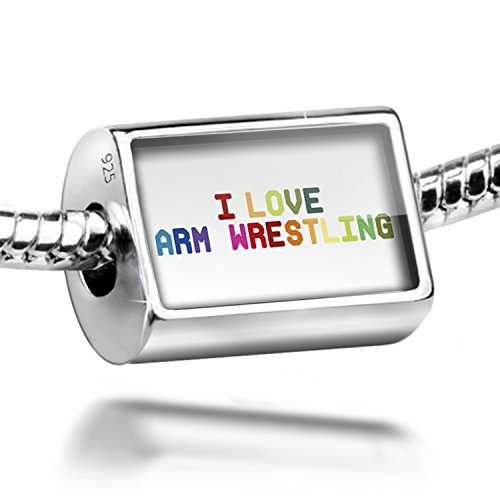 Sterling Silver Charm I Love Arm Wrestling,Colorful - Bead Fit All European Bra by NEONBLOND