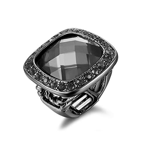 Poem&Future Girl's Alloy Acrylic Square Ring Women's Adjustable Rhinestone Stretch Finger Ring Novelty Jewelry for Cocktail Party (Black) (Costume Jewelry Rings Under $10)