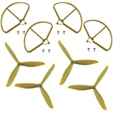 4pcs Upgraded Three Bladed Propeller Props & 4pcs Prop Guards for Hubsan H501S H501C X4 Drone Spare Parts (Brown)