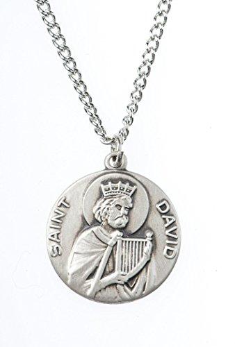 Pewter Saint St David Dime Size Medal Pendant, 3/4 ()