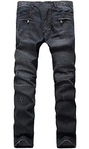 HENGAO Men's Casual Straight Slim Fit Biker Jeans Denim Pants, 1722 Black, W32