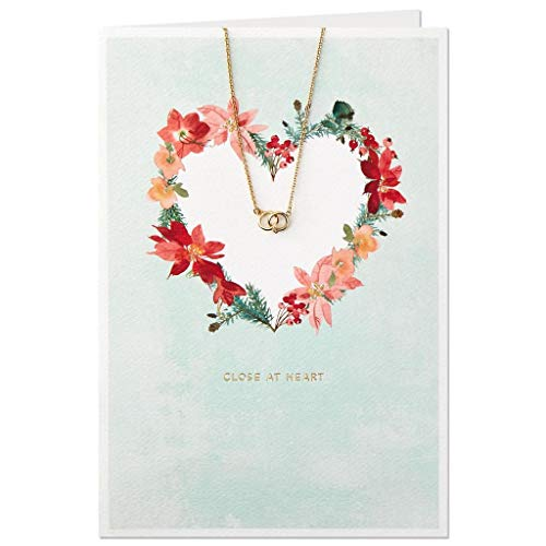 Hallmark Heart Wreath Christmas Card With Interlocking Circles Charm Necklace