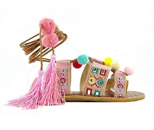 H&D, Sandalia Pompones Plana, Chancla Verano de Mujer, cuerdas atadas al tobillo, Color Rosa.