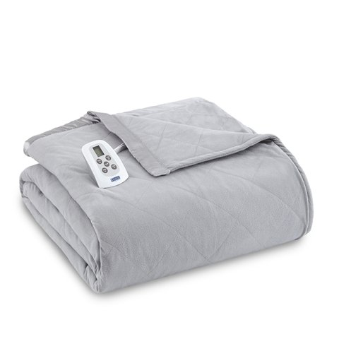 Shavel Home Products Micro Flannel Solid Electric Heated Blanket Greystone Twin
