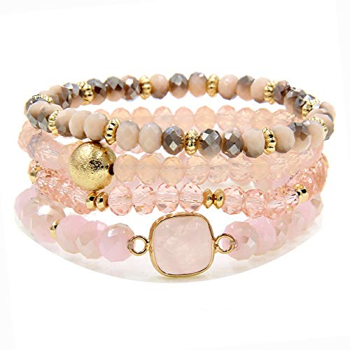 YUJIAXU Gold Beaded Bracelet Set, Square Stone Hexagon Druzy Stretch Beaded Stackable Bracelets Bangles Pink