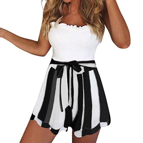 Fiaya Women's Summer Casual Lace up High Waist Belted Stripes Print Petal Double Layer Shorts (Black, ()