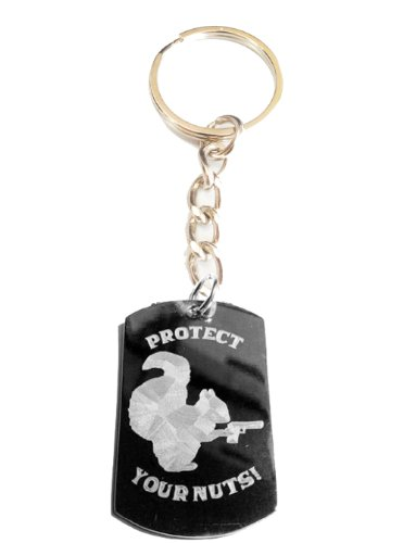 Protect Your Nuts Squirrel Funny Novelty Logo Symbols - Metal Ring Key Chain Keychain