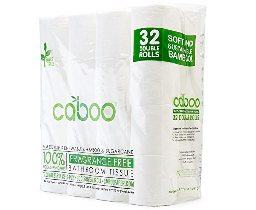 Two Ply Bath Tissue (Caboo Tree Free Bamboo Toilet Paper, Septic Safe Biodegradable Bath Tissue with Eco Friendly Soft 2 Ply Sheets - 300 Sheets Per Roll, Bulk 32 Double Rolls)