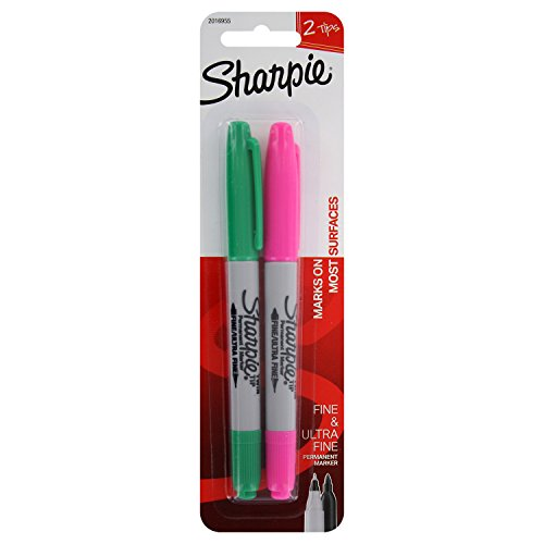 Sharpie Permanent Markers, Fine Point (2-Count, Assorted Colors) ()