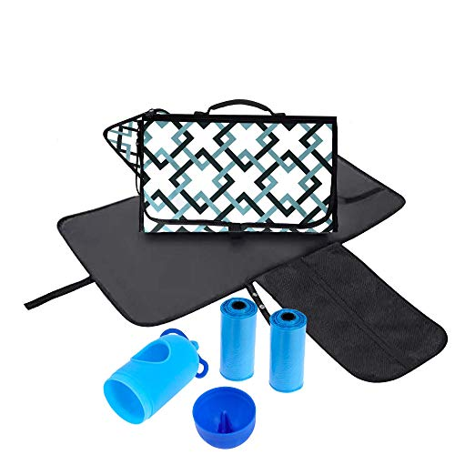 Portable Changing Pad Baby Diaper Changing Pad w Bonus Diaper Bag Dispenser- Portable Station Mat with Head Cushion - Lightweight and Perfect for Travel and Baby - Waterproof and Foldable