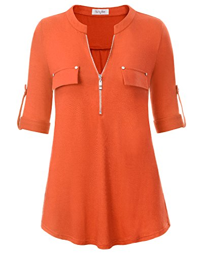 Metallic Spandex Tunic (YaYa Bay Tunics For Women 3/4 Sleeve, Fashion V-Neck Roll Up Cuffed Sleeve Quarter Zip Up Fake Pocket Tunic Blouse Medium Orange Red For Juniors Button Down Blouse Shirt)