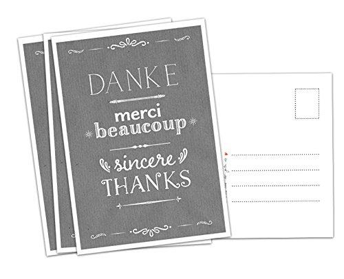5 x Danksagungskarte DANKE, merci beaucoup, sincere THANKS, Dankeskarte für deine Hochzeit, Geburtstag, Jubiläum etc., Recyclingpapier