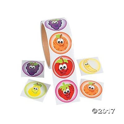Just4fun 200 Fruit Smile Face Stickers - 2 Rolls of 100 - Apple Orange Banana PEAR Grapes Strawberry - Party Favors Teacher Classroom Rewards - Smiley Nutrition Health: Toys & Games