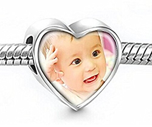 Moonlove Personalized 925 Sterling Silver Charms Beads Custom Your Photo Pendant Memorial Gift Heart Shape Bar Pendant Fit Chamilia Biagi Necklace Bracelet, Birthday/Xmas Gift Keepsake Gift