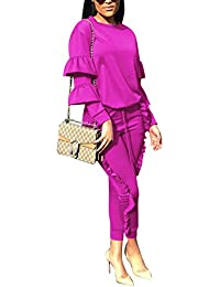 Subtle Flavor Women 2 Pieces Outfits Puff Sleeve Top and Long Flounced  Pants Sweatsuits Set Tracksuits 62c0d7a518bf