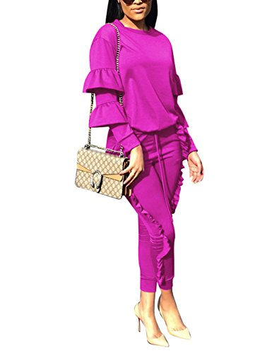 (Women 2 Pieces Outfits Puff Sleeve Top and Long Flounced Pants Sweatsuits Set Tracksuits Rose XX-Large)