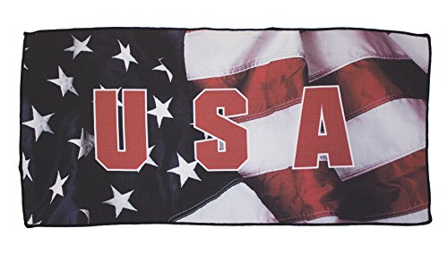 Devant Sport Towels USA Flag Americana Series Microfiber Golf Towel, White, 16 x 32 by Devant Sport Towels