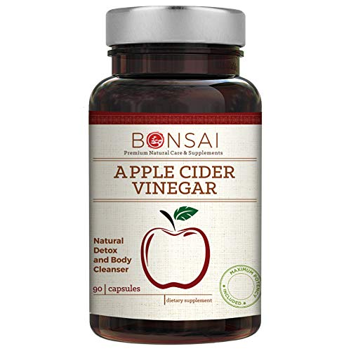 Apple Cider Vinegar by Bonsai Naturals, 90 Capsules - 350mg Apple Cider Vinegar Powder - Naturally Detoxify & Cleanse - Supports Metabolism, Digestion, Energy, Heart & Cholesterol - Supplement