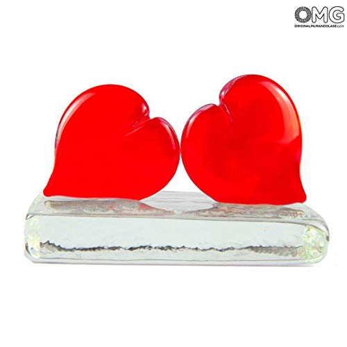 - Original Murano Glass OMG Hearts Love Couple - Paperweight