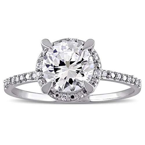 Natural White Sapphire Engagement Ring White Gold Diamond AAA Grade White Sapphire ()