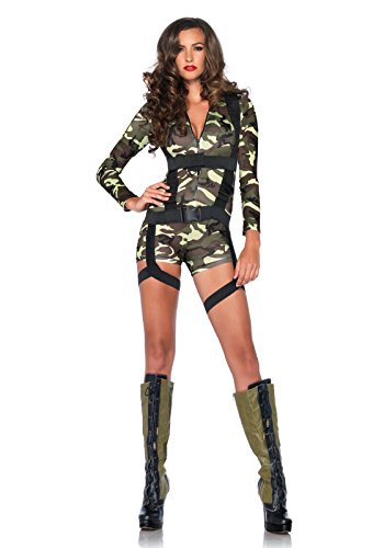 Camouflage Halloween Costumes (Leg Avenue Women's 2 Piece Goin' Commando Military Costume, Camo, Small)