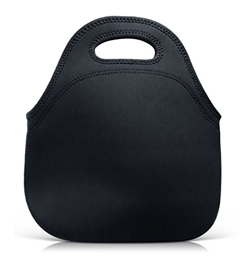 The Black Neoprene Lunch Bag | Insulated Tote for Men, Women and Kids | Washable, Reusable, Lunch Box for Work, School, Picnics | Built With Extra Thick Neoprene | 12 x 11.5 x 4
