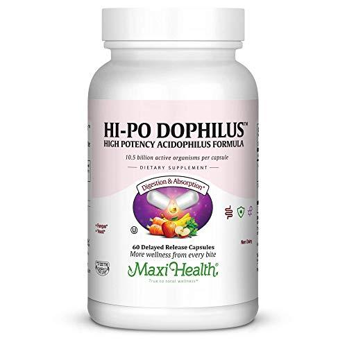 Maxi Health HI-PO Dophilus - High Potency Acidophilus Probiotics - 60 Capsules - Kosher