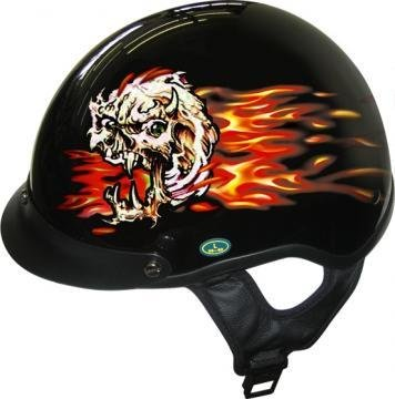 Amazon.com: Dot Flaming Skull Negro Casco Motocicleta de la ...