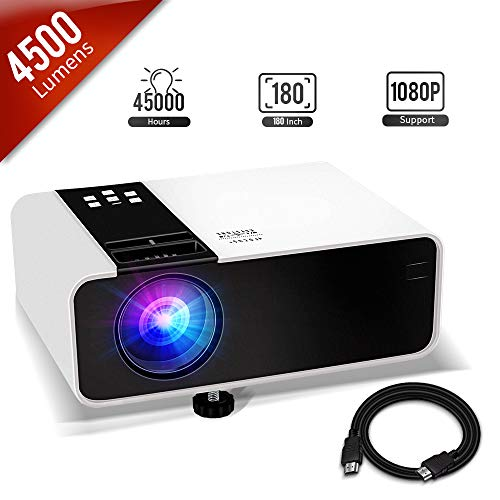 Mini Projector, 1080P HD Supported 4500 Lux Portable Video Projector, Compatible with TV Stick, HDMI, USB , AV, DVD, for Multimedia Home Theater, Built-in Daul Speaker, Four Display Mode[GRC]