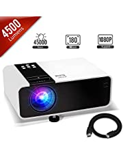 Mini Projector, 1080P HD Supported Portable Video Projector with 30000H Lamp, Compatible with TV Stick, HDMI, USB , AV, DVD, for Multimedia Home Theater, Built-in Daul Speaker, Four Display Mode[GRC]