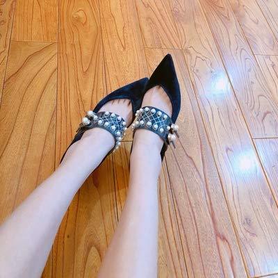 Yukun zapatos de tacón alto Zapatos De Tacón De Aguja De Las Mujeres del Otoño Acentuados Tacones Altos Salvaje Color A Juego Boca Baja Zapatos Individuales, 36, Albaricoque Black