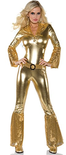Underwraps Costumes Women's Gold Metallic Jumpsuit Costume - Disco Diva, Gold, -