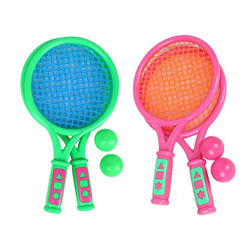 (LIOOBO 2 Sets of Plastic Tennis Racket Leisure Sports Trumpet Small Plastic Tennis Racket with Tennis Balls -(Pink + Green))