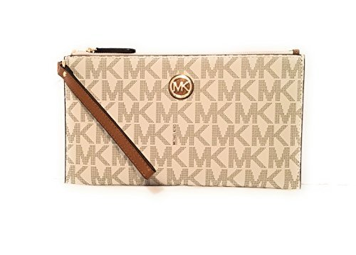 Michael Kors Fulton Leather Clutch Wristlet Wallet Vanilla Acorn PVC by Michael Kors
