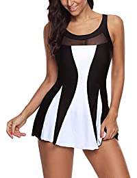 Women One Piece Swimdress Tummy Control Swim Dress Swimwear Slimming Skirt Swimsuits Bathing Suit Dress