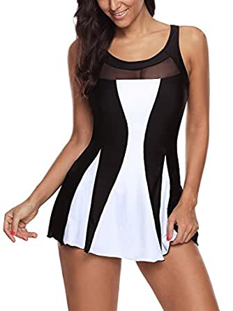 Zando Skirtini Bathing Suit High Waist Swimdress Vintage Swimwear Skirted Swimsuit One Piece Swimdresses for Women Girl Black White S (US 2-4)