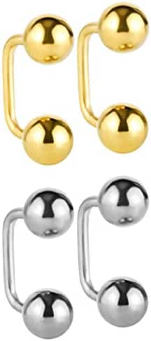 JewelrieShop High Polished Stainless Steel Reversible Double Round Front Back Fireball Disco Ball Screw Stud Earrings
