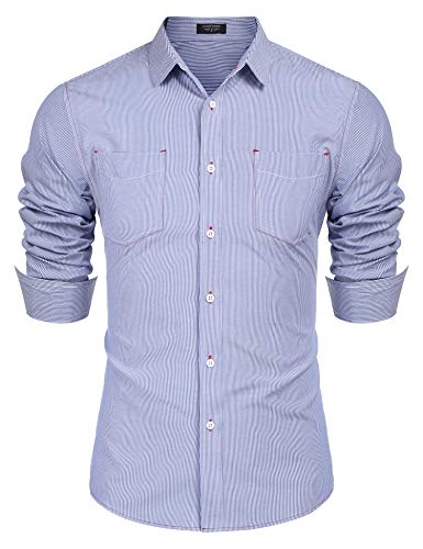 COOFANDY Men's Business Dress Shirt Long Sleeve Slim Fit Striped Button Down Shirt Pinstripe Oxford Shirt