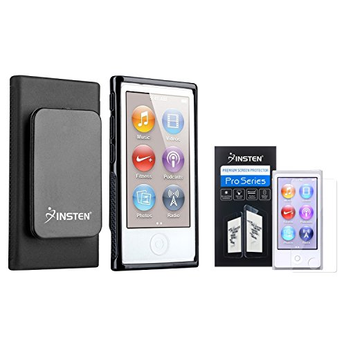 INSTEN Black TPU Rubber Case & Belt Clip + Clear Reusable Screen Protector compatible with Apple iPod nano 7th Generation