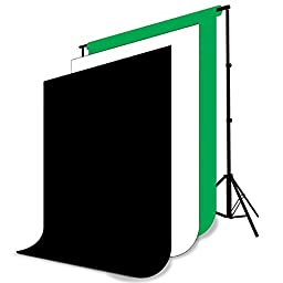 LimoStudio Photo Backdrops Background 10\' X 12\' White, Black, Green Chromakey Photography Muslin Support System Stand and Bag, AGG115V3