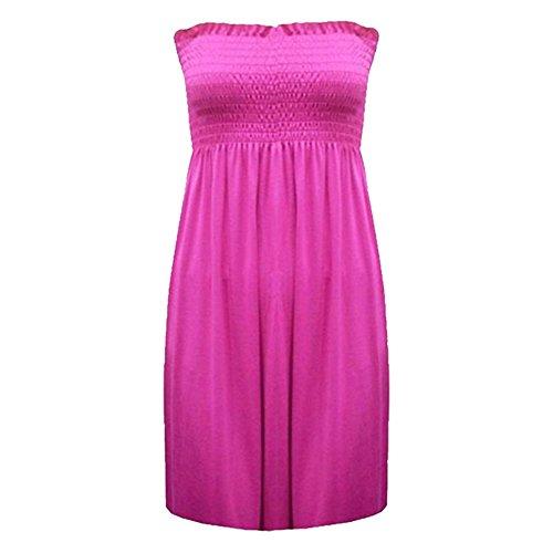 Moda 4Menos Mujer señoras Plus Tamaño Impreso Sheering boobtube Top sin tirantes chaleco vestido 822 Cereza