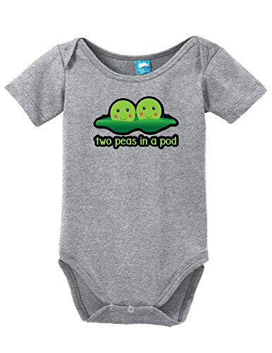 (Two Peas in A Pod Printed Infant Bodysuit Baby Romper Gray 3-6)