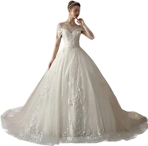 Nobrannd Prinzessin Elegantes Kleid Damen High Waist Thin White Big Schwanz Hochzeit Kleid Party Abendkleid (Color : White, Size : S)