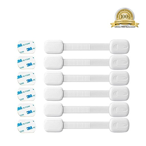 Vanble Child Safety Locks 6 Pack, For Baby Proofing Cabinets, Drawers, Fridge, Cupboards, Trash Cans, Toilet Seats, Easy to Use & No Tools or Drilling, Reusable with Extra 3M Adhesive Included, White