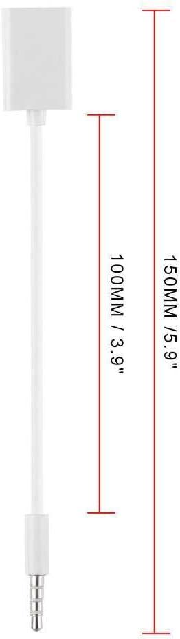 OcioDual Cable Audio de USB Hembra a Aux Jack Macho 3.5mm Adaptador Auxiliar Blanco para Radio Coche con Funci/ón Decodificador