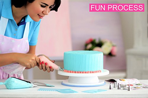 Cakebe Cake Decorating Kit 78 pcs with Icing Piping Bags and Tips Set Cake Leveler Cake Turntable and Other Cake Baking Supplies Baking Set with 32 Frosting Tips and Bags 4 Cake Decorating Tools for Beginners: Cake turntable rotating cake stand, cake leveler, 32 numbered cake decorating tips, 30 disposable piping bags, 1 silicone icing bag, 2 couplers, 3 cake scrappers, 2 icing spatula, 1 flower nail, 1 flower lifter, cleaning brush, 3 bags ties and cake decorating guide. All you need for perfect cake decorating in this great Baking Decorating Kit! Revolving Cake Decorating Turntable with Non-slip Base: Turns smoothly 360-degree direction, holds a cake up to 11-inches and can even accommodate a larger cake on a cake board. This cake spinner has a Non-slip base which helps to keep the turntable from moving on your work surface and prevents cake turntable sliding. No Experience Required: Anyone can create professional-looking cakes with these high-quality baking tools! This cake decorating kit will help you create beautiful cakes at home for any occasion.