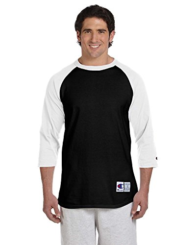 Champion Men's Raglan Baseball T-Shirt, Black/White, X-Large